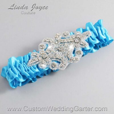 Turquoise Wedding Garter / Blue Wedding Garters / Heather #01-A07-340-Turquoise_Silver / Wedding Garters / Custom Wedding Garters / Bridal Garter / Prom Garter / Linda Joyce Couture