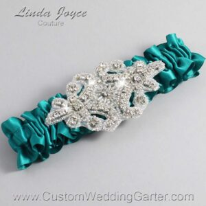 Mallard Wedding Garter / Teal Wedding Garters / Heather #01-A07-342-Mallard_Silver / Wedding Garters / Custom Wedding Garters / Bridal Garter / Prom Garter / Linda Joyce Couture