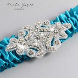 Tornado Blue Wedding Garter / Teal Wedding Garters / Heather #01-A07-344-Tornado-Blue_Silver / Wedding Garters / Custom Wedding Garters / Bridal Garter / Prom Garter / Linda Joyce Couture