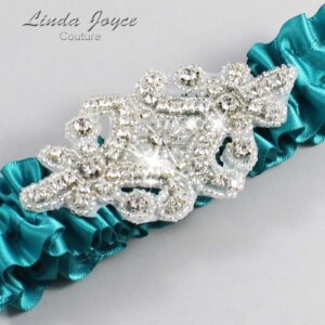Jade Wedding Garter / Teal Wedding Garters / Heather #01-A07-346-Jade_Silver / Wedding Garters / Custom Wedding Garters / Bridal Garter / Prom Garter / Linda Joyce Couture