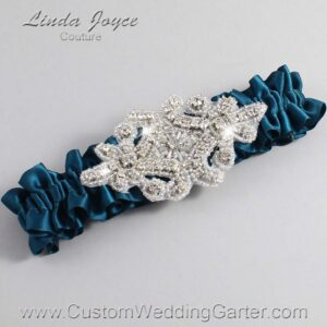 Teal Wedding Garter / Teal Wedding Garters / Heather #01-A07-347-Teal_Silver / Wedding Garters / Custom Wedding Garters / Bridal Garter / Prom Garter / Linda Joyce Couture