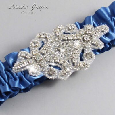 Smoke Blue Wedding Garter / Blue Wedding Garters / Heather #01-A07-363-Smoke-Blue_Silver / Wedding Garters / Custom Wedding Garters / Bridal Garter / Prom Garter / Linda Joyce Couture