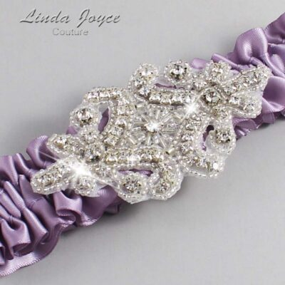 Fresco Wedding Garter / Purple Wedding Garters / Heather #01-A07-434-Fresco_Silver / Wedding Garters / Custom Wedding Garters / Bridal Garter / Prom Garter / Linda Joyce Couture