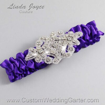 Eggplant Wedding Garter / Purple Wedding Garters / Heather #01-A07-465-Eggplant_Silver / Wedding Garters / Custom Wedding Garters / Bridal Garter / Prom Garter / Linda Joyce Couture