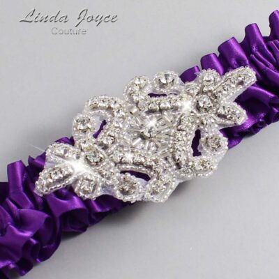Ultra Violet Wedding Garter / Purple Wedding Garters / Heather #01-A07-467-Ultra-Violet_Silver / Wedding Garters / Custom Wedding Garters / Bridal Garter / Prom Garter / Linda Joyce Couture