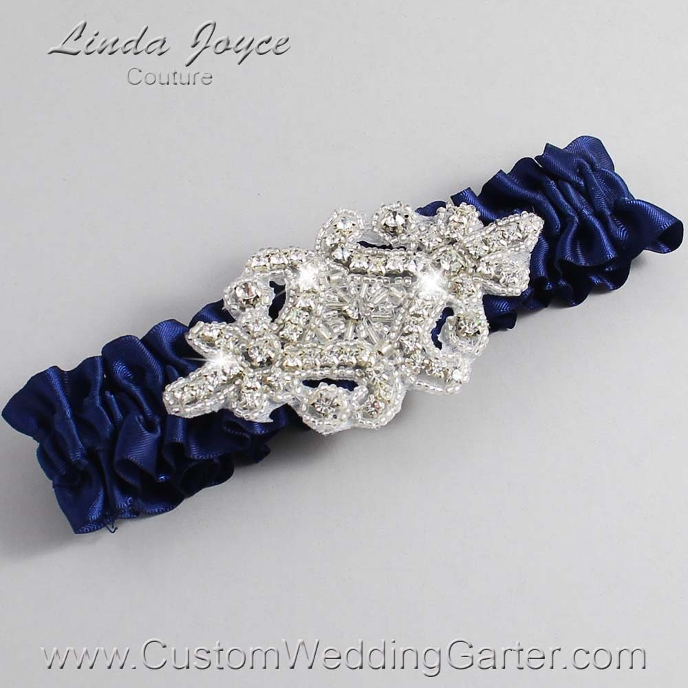 (Satin_Color_Name) Wedding Garter / Blue Wedding Garters / Heather #01-A07-508-Navy-Blue_Silver / Wedding Garters / Custom Wedding Garters / Bridal Garter / Prom Garter / Linda Joyce Couture