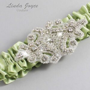Lime Juice Wedding Garter / Green Wedding Garters / Heather #01-A07-524-Lime-Juice_Silver / Wedding Garters / Custom Wedding Garters / Bridal Garter / Prom Garter / Linda Joyce Couture