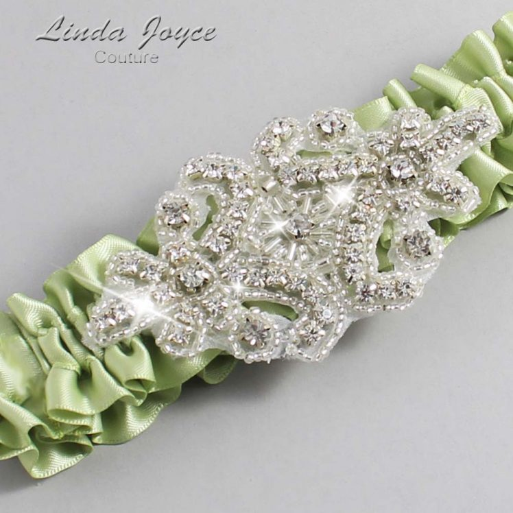 Lime Juice Wedding Garter / Green Wedding Garters / Wedding Garter / Custom Wedding Garter / Linda Joyce Couture / Heather #01-A07-524-Lime-Juice_Silver