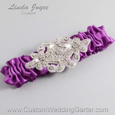 Helio Wedding Garter / Purple Wedding Garters / Heather #01-A07-541-Helio_Silver / Wedding Garters / Custom Wedding Garters / Bridal Garter / Prom Garter / Linda Joyce Couture