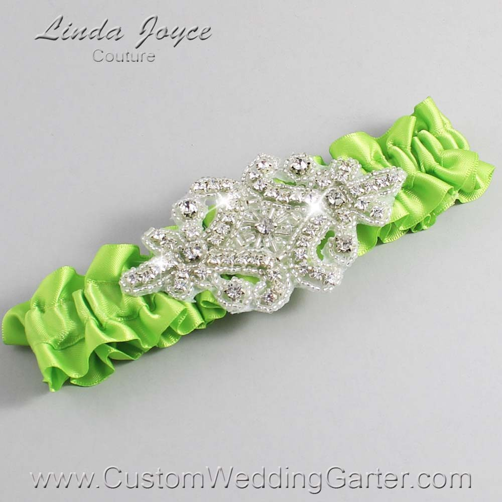 Green Yellow Wedding Garter / Green Wedding Garters / Heather #01-A07-550-Green-Yellow_Silver / Wedding Garters / Custom Wedding Garters / Bridal Garter / Prom Garter / Linda Joyce Couture