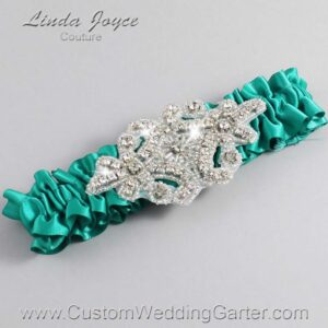 Parrot Green Wedding Garter / Teal Wedding Garters / Heather #01-A07-583-Parrot-Green_Silver / Wedding Garters / Custom Wedding Garters / Bridal Garter / Prom Garter / Linda Joyce Couture