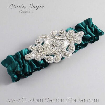 Jungle Green Wedding Garter / Green Wedding Garters / Heather #01-A07-589-Jungle-Green_Silver / Wedding Garters / Custom Wedding Garters / Bridal Garter / Prom Garter / Linda Joyce Couture