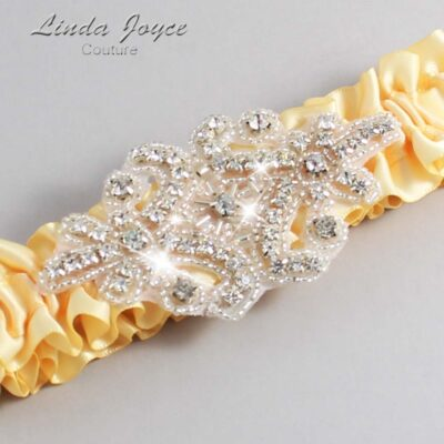 Chamois Wedding Garter / Yellow Wedding Garters / Heather #01-A07-614-Chamois_Silver / Wedding Garters / Custom Wedding Garters / Bridal Garter / Prom Garter / Linda Joyce Couture