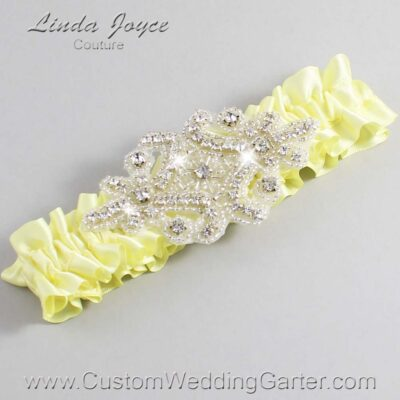 Lemon Chiffon Wedding Garter / Yellow Wedding Garters / Heather #01-A07-617-Lemon-Chiffon_Silver / Wedding Garters / Custom Wedding Garters / Bridal Garter / Prom Garter / Linda Joyce Couture