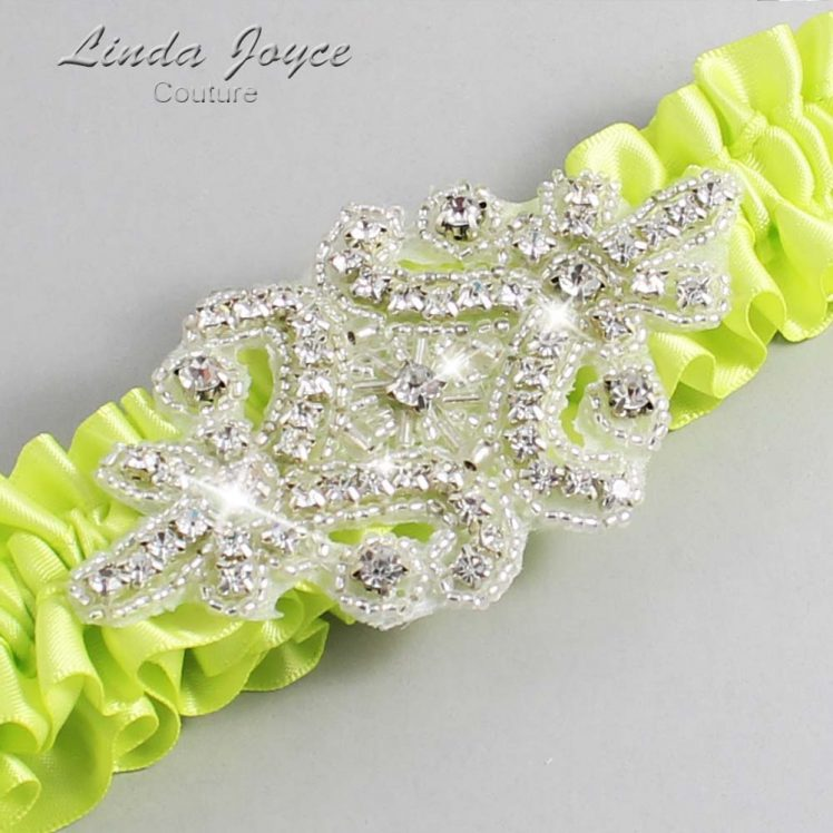 Pineapple Wedding Garter / Yellow Wedding Garters / Wedding Garter / Custom Wedding Garter / Linda Joyce Couture / Heather #01-A07-625-Pineapple_Silver