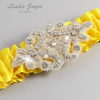 Sunglow Wedding Garter / Yellow Wedding Garters / Heather #01-A07-645-Sunglow_Silver / Wedding Garters / Custom Wedding Garters / Bridal Garter / Prom Garter / Linda Joyce Couture