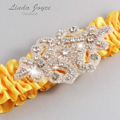 Saffron Wedding Garter / Yellow Wedding Garters / Heather #01-A07-658-Saffron_Silver / Wedding Garters / Custom Wedding Garters / Bridal Garter / Prom Garter / Linda Joyce Couture