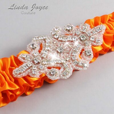 Tangerine Wedding Garter / Orange Wedding Garters / Heather #01-A07-668-Tangerine_Silver / Wedding Garters / Custom Wedding Garters / Bridal Garter / Prom Garter / Linda Joyce Couture