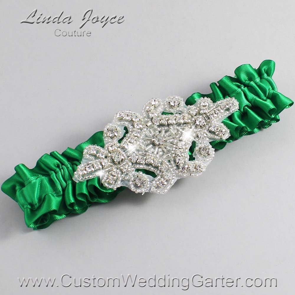Emerald Green Wedding Garter / Green Wedding Garters / Heather #01-A07-684-Emerald-Green_Silver / Wedding Garters / Custom Wedding Garters / Bridal Garter / Prom Garter / Linda Joyce Couture
