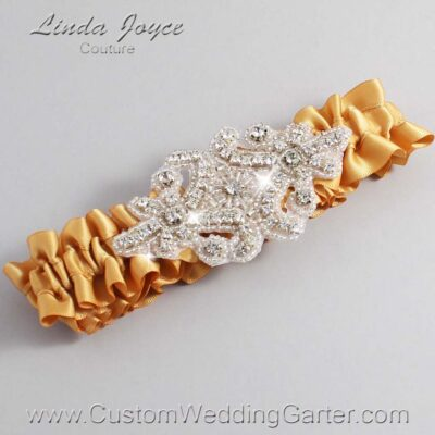 Old Gold Wedding Garter / Gold Wedding Garters / Heather #01-A07-690-Old-Gold_Silver / Wedding Garters / Custom Wedding Garters / Bridal Garter / Prom Garter / Linda Joyce Couture