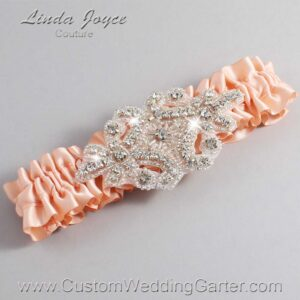Petal Peach Wedding Garter / Orange Wedding Garters / Heather #01-A07-714-Petal-Peach_Silver / Wedding Garters / Custom Wedding Garters / Bridal Garter / Prom Garter / Linda Joyce Couture