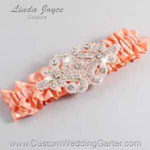 Salmon Wedding Garter / Orange Wedding Garters / Heather #01-A07-720-Salmon_Silver / Wedding Garters / Custom Wedding Garters / Bridal Garter / Prom Garter / Linda Joyce Couture