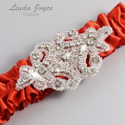 Mandarin-Orange Wedding Garter / Orange Wedding Garters / Heather #01-A07-765-Mandarin-Orange_Silver / Wedding Garters / Custom Wedding Garters / Bridal Garter / Prom Garter / Linda Joyce Couture