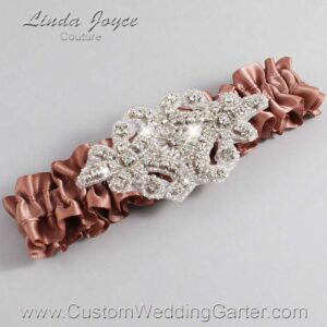 Pecan Brown Wedding Garter / Brown Wedding Garters / Heather #01-A07-779-Pecan-Brown_Silver / Wedding Garters / Custom Wedding Garters / Bridal Garter / Prom Garter / Linda Joyce Couture