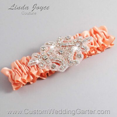 Peach Wedding Garter / Orange Wedding Garters / Heather #01-A07-805-Peach_Silver / Wedding Garters / Custom Wedding Garters / Bridal Garter / Prom Garter / Linda Joyce Couture