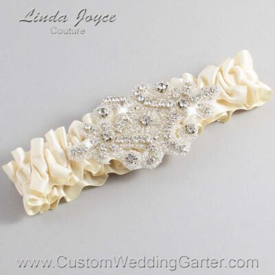 Beige Wedding Garter / Ivory Wedding Garters / Heather #01-A07-815-Beige_Silver / Wedding Garters / Custom Wedding Garters / Bridal Garter / Prom Garter / Linda Joyce Couture