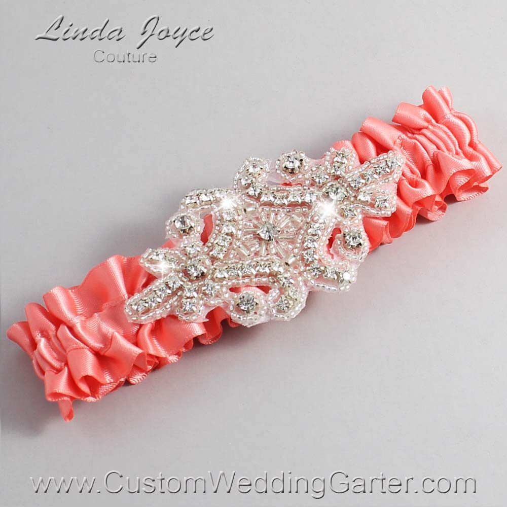 Woodrose Wedding Garter / Orange Wedding Garters / Heather #01-A07-816-Woodrose_Silver / Wedding Garters / Custom Wedding Garters / Bridal Garter / Prom Garter / Linda Joyce Couture