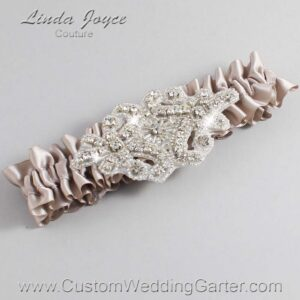Taupe Wedding Garter / Brown Wedding Garters / Heather #01-A07-823-Taupe_Silver / Wedding Garters / Custom Wedding Garters / Bridal Garter / Prom Garter / Linda Joyce Couture