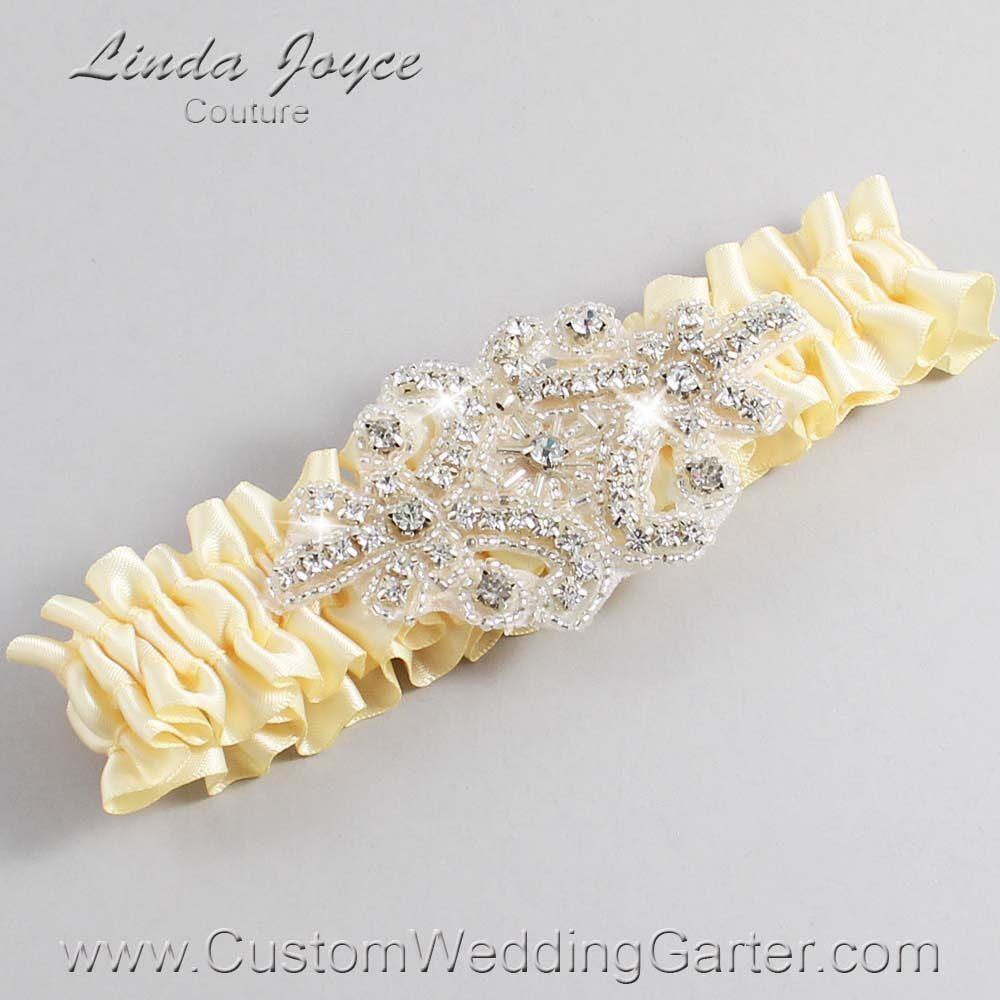 Buttermilk Wedding Garter / Yellow Wedding Garters / Heather #01-A07-824-Buttermilk_Silver / Wedding Garters / Custom Wedding Garters / Bridal Garter / Prom Garter / Linda Joyce Couture
