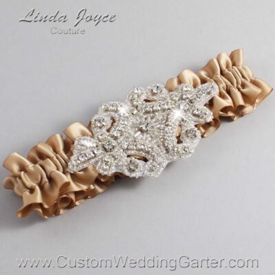 Desert Sand Wedding Garter / Brown Wedding Garters / Heather #01-A07-830-Desert-Sand_Silver / Wedding Garters / Custom Wedding Garters / Bridal Garter / Prom Garter / Linda Joyce Couture