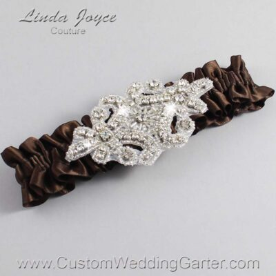 Coffee Wedding Garter / Brown Wedding Garters / Heather #01-A07-850-Coffee_Silver / Wedding Garters / Custom Wedding Garters / Bridal Garter / Prom Garter / Linda Joyce Couture