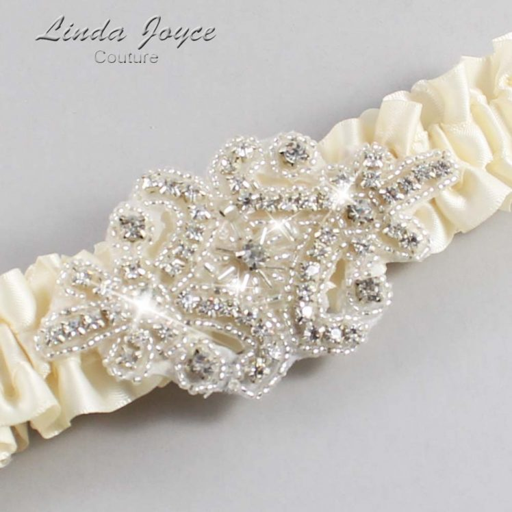 Ivory Wedding Garter / Ivory Wedding Garters / Wedding Garter / Custom Wedding Garter / Linda Joyce Couture / Heather #01-A07-871-Ivory_Silver