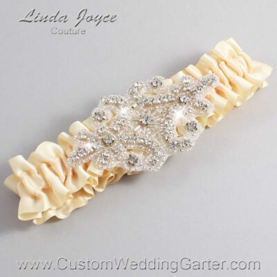 Cream Wedding Garter / Ivory Wedding Garters / Heather #01-A07-882-Cream_Silver / Wedding Garters / Custom Wedding Garters / Bridal Garter / Prom Garter / Linda Joyce Couture