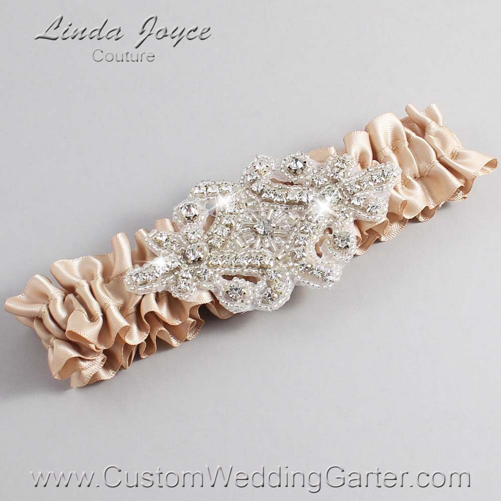 Tan Wedding Garter / Brown Wedding Garters / Heather #01-A07-892-Tan_Silver / Wedding Garters / Custom Wedding Garters / Bridal Garter / Prom Garter / Linda Joyce Couture