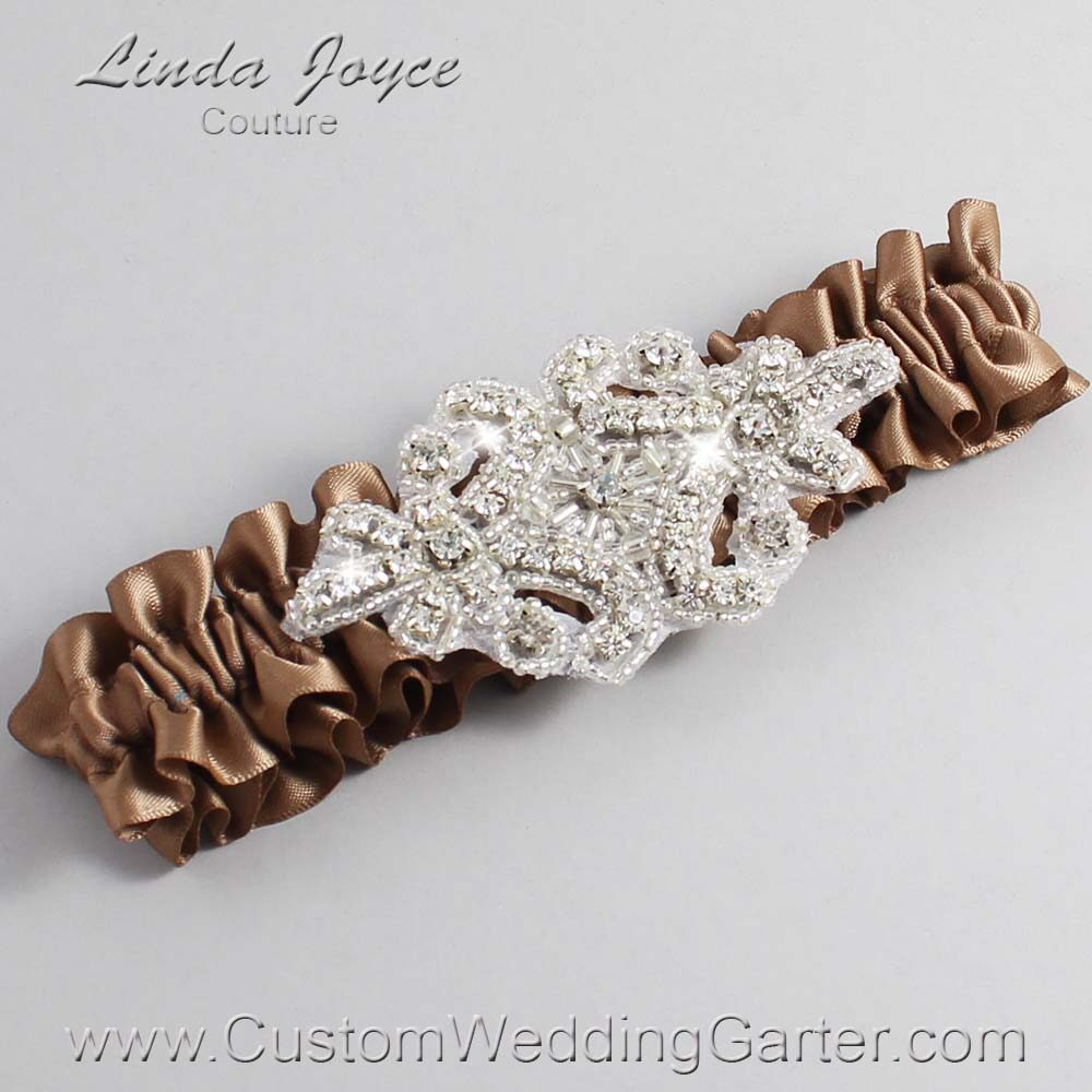 Sable Wedding Garter / Brown Wedding Garters / Heather #01-A07-922-Sable_Silver / Wedding Garters / Custom Wedding Garters / Bridal Garter / Prom Garter / Linda Joyce Couture