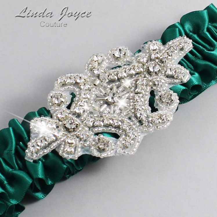 Hunter Green Wedding Garter / Green Wedding Garters / Wedding Garter / Custom Wedding Garter / Linda Joyce Couture / Heather #01-A07-925-Hunter-Green_Silver