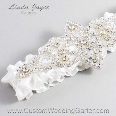 Off White Wedding Garter / White Wedding Garters / Lorine #01-A09-000-Off-White_Silver / Wedding Garters / Custom Wedding Garters / Bridal Garter / Prom Garter / Linda Joyce Couture