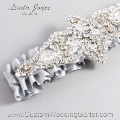 Shell Gray Wedding Garter / Gray) Wedding Garters / Lorine #01-A09-007-Shell-Gray_Silver / Wedding Garters / Custom Wedding Garters / Bridal Garter / Prom Garter / Linda Joyce Couture