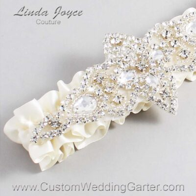 Old Lace Wedding Garter / Ivory Wedding Garters / Lorine #01-A09-028-Old-Lace_Silver / Wedding Garters / Custom Wedding Garters / Bridal Garter / Prom Garter / Linda Joyce Couture