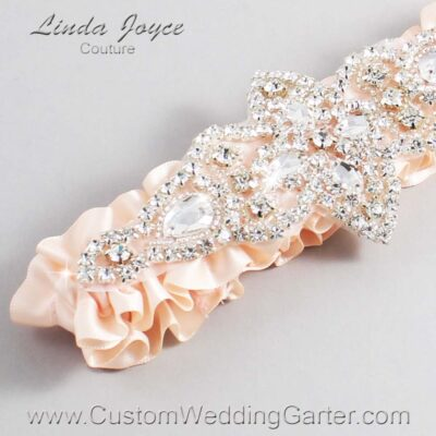 Nude Wedding Garter / Orange Wedding Garters / Lorine #01-A09-113-Nude_Silver / Wedding Garters / Custom Wedding Garters / Bridal Garter / Prom Garter / Linda Joyce Couture