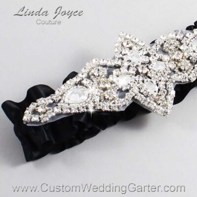 Black Wedding Garter / Black Wedding Garters / Lorine #01-A09-123-Black_Silver / Wedding Garters / Custom Wedding Garters / Bridal Garter / Prom Garter / Linda Joyce Couture