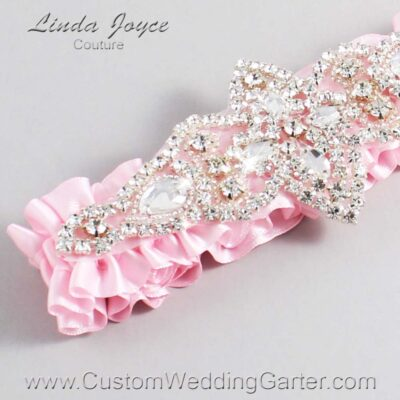 Light Pink Wedding Garter / Pink Wedding Garters / Lorine #01-A09-145-Light-Pink_Silver / Wedding Garters / Custom Wedding Garters / Bridal Garter / Prom Garter / Linda Joyce Couture