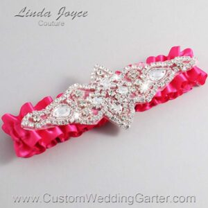 Hot Magenta Wedding Garter / Pink Wedding Garters / Lorine #01-A09-175-Hot-Magenta_Silver / Wedding Garters / Custom Wedding Garters / Bridal Garter / Prom Garter / Linda Joyce Couture