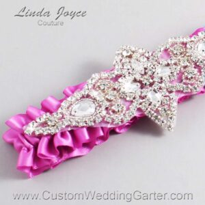 Rose Bloom Wedding Garter / Pink Wedding Garters / Lorine #01-A09-182-Rose-Bloom_Silver / Wedding Garters / Custom Wedding Garters / Bridal Garter / Prom Garter / Linda Joyce Couture