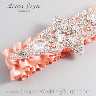 Moonstone Wedding Garter / Orange Wedding Garters / Lorine #01-A09-203-Moonstone_Silver / Wedding Garters / Custom Wedding Garters / Bridal Garter / Prom Garter / Linda Joyce Couture