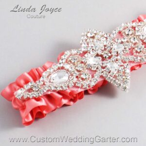 Light Coral Wedding Garter / Orange Wedding Garters / Lorine #01-A09-238-Light-Coral_Silver / Wedding Garters / Custom Wedding Garters / Bridal Garter / Prom Garter / Linda Joyce Couture